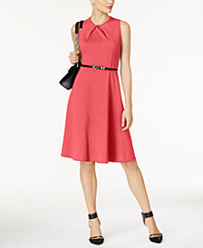 NY Collection Petite Belted Fit & Flare Dress