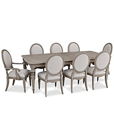 Elina Expandable Dining 9-Pc. Set (Dining Table, 6 Upholstered Side Chairs & 2 Upholstered Arm Chairs), Created for Macy's