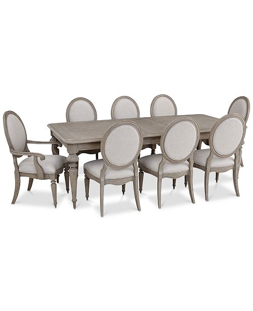 Furniture Elina Expandable Dining Furniture, 9-Pc. Set (Dining Table, 6 Upholstered Side Chairs & 2 Upholstered Arm Chairs), Created for Macy's