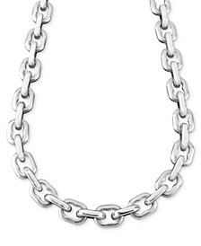 "Men's Stainless Steel Necklace, 24"" Anchor Link"