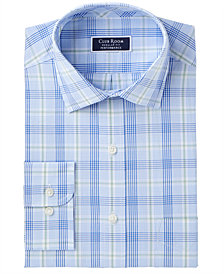Club Romm Men's Classic/Regular Fit Stretch Fine Line Glenplaid Dress Shirt, Created for Macy's