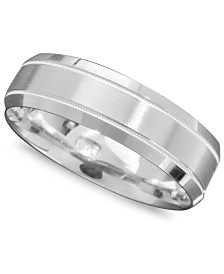 Men's 14k White Gold Ring, Engraved 6mm Band (Size 6-13)