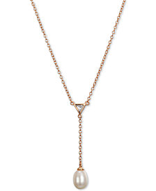 "Unwritten Cultured Freshwater Pearl (6mm) & Cubic Zirconia Y Necklace, 16""+ 2"" extender"