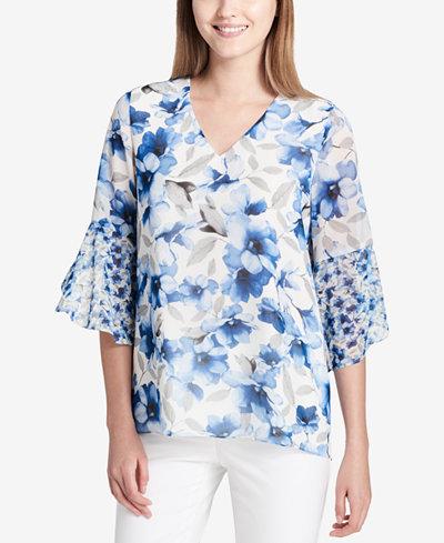 Calvin Klein Floral-Print V-Neck Blouse