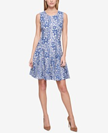 Tommy Hilfiger Petite Lace Sleeveless Fit and Flare Dress