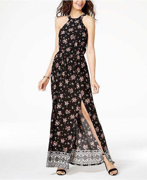 26dd233fb10 Trixxi Juniors  Printed Side-Slit Maxi Dress   Reviews - Dresses ...
