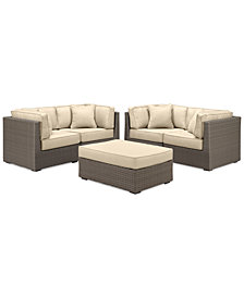 South Harbor Outdoor 5-Pc. Modular Seating Set (4 Corner Units & 1 Ottoman), with Custom Sunbrella® Colors, Created for Macy's