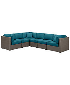 South Harbor Outdoor 6-Pc. Modular Seating Set (3 Corner Units & 3 Armless Units), with Custom Sunbrella® Colors, Created for Macy's