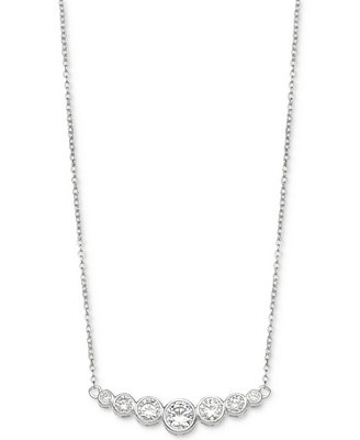 "Cubic Zirconia Bezel 18"" Pendant Necklace In Sterling Silver, Created For Macy's by Giani Bernini"
