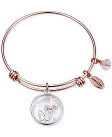 Unwritten Butterfly Glass Shaker Charm Adjustable Bangle Bracelet in Rose Gold-Tone Stainless Steel