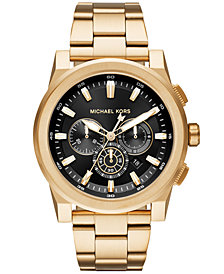 Michael Kors Men's Chronograph Grayson Gold-Tone Stainless Steel Bracelet Watch 47mm