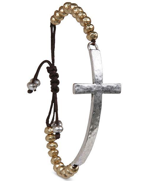 Lucky Brand Two-Tone Cross Pendant Beaded Bracelet