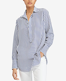 Polo Ralph Lauren Striped Silk Popover Shirt