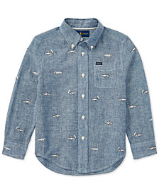 Polo Ralph Lauren Embroidered Chambray Shirt, Little Boys