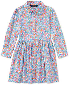 Polo Ralph Lauren Floral-Print Cotton Shirtdress, Toddler Girls
