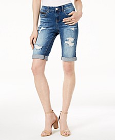 INC Curvy-Fit Ripped Bermuda Shorts, Created for Macy's