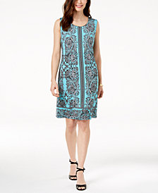JM Collection Chain-Link-Trim Shift Dress, Created for Macy's