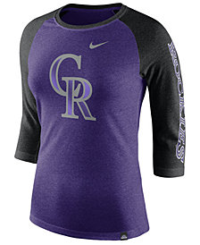 Nike Women's Colorado Rockies Tri-Blend Raglan T-Shirt