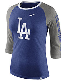 Nike Women's Los Angeles Dodgers Tri-Blend Raglan T-Shirt