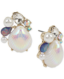 Betsey Johnson Gold-Tone Imitation Pearl & Crystal Shell Stud Earrings