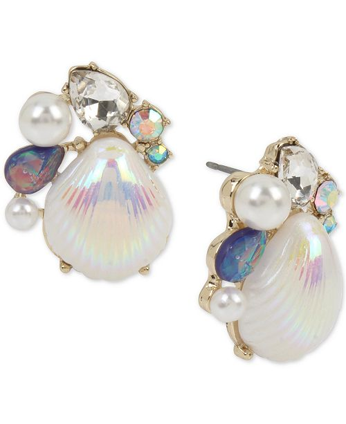 Gold-Tone Imitation Pearl & Crystal Shell Stud Earrings
