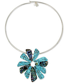 "Robert Lee Morris Soho Silver-Tone Multi-Stone Flower 16"" Pendant Necklace"