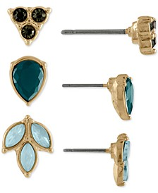 Gold-Tone 3-Pc. Set Multi-Stone Leaf Stud Earrings