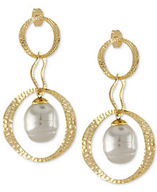 Majorica Gold-Tone & Imitation Pearl Hammered Circle Double Drop Earrings