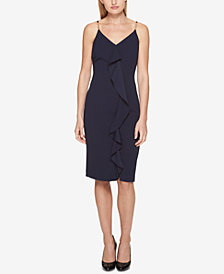 GUESS Ruffled Slit Sheath Dress
