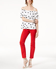 I.N.C. Dot-Print Off-The-Shoulder Top & Cropped Jeans, Created for Macy's