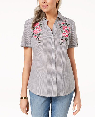 ... OEUVRE Cotton Embroidered Shirt Top ...