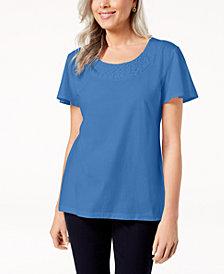 Karen Scott Petite Woven-Neck Top, Created for Macy's