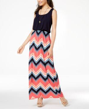 Trixxi Juniors' Printed-Skirt Maxi Dress 6120489