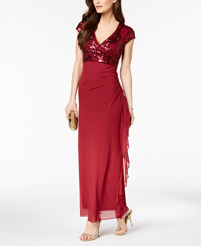 Betsy & Adam Petite Embellished Surplice Ruched Gown