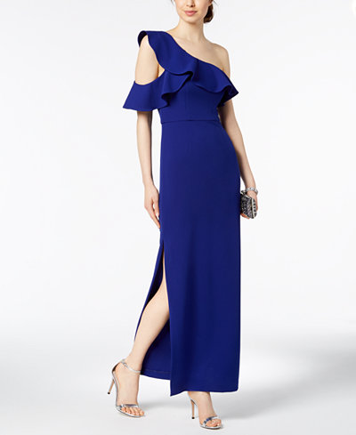 Betsy & Adam Ruffled One-Shoulder Gown