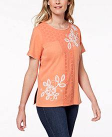 Alfred Dunner Petite Los Cabos Embroidered Eyelet T-Shirt