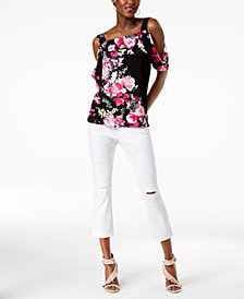 I.N.C. Printed Cold-Shoulder Top & Ripped Cropped Jeans, Created for Macy's