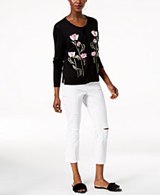 I.N.C. Embroidered Cardigan & Ripped Cropped Jeans, Created for Macy's