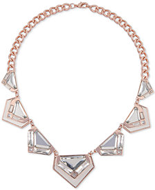 "GUESS Rose Gold-Tone Large Crystal and Python-Look Collar Necklace, 18"" + 2"" extender"