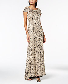 Calvin Klein Cap-Sleeve Sequined Lace Gown