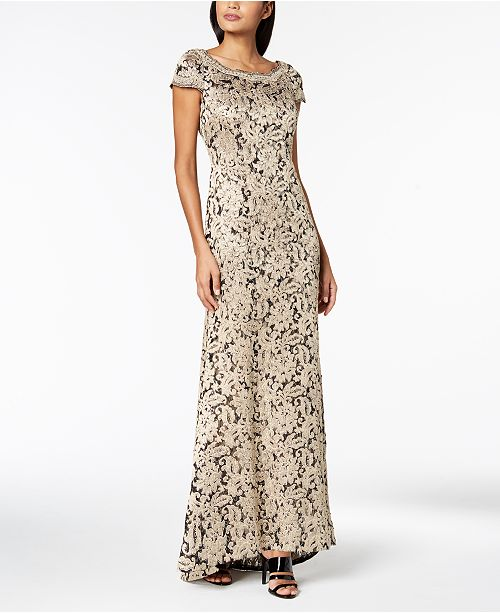 5a9b35f1 Calvin Klein Cap-Sleeve Sequined Lace Gown & Reviews - Dresses ...