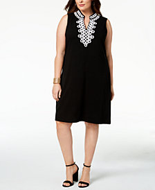 Charter Club Plus Size Crochet-Trim Dress, Created for Macy's