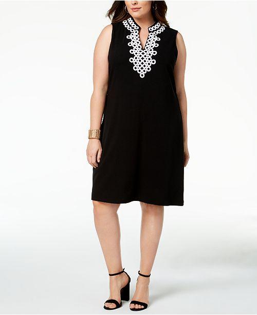 Plus Size Crochet-Trim Dress, Created for Macy's