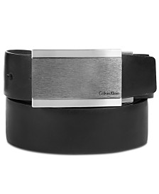 Calvin Klein Men's Plaque Buckle Reversible Leather Belt