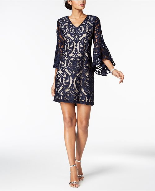 e887ad89a43a2 MSK Lace Bell-Sleeve Dress & Reviews - Dresses - Women - Macy's