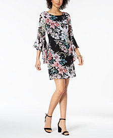 Connected Bell-Sleeve Floral-Print Chiffon Dress