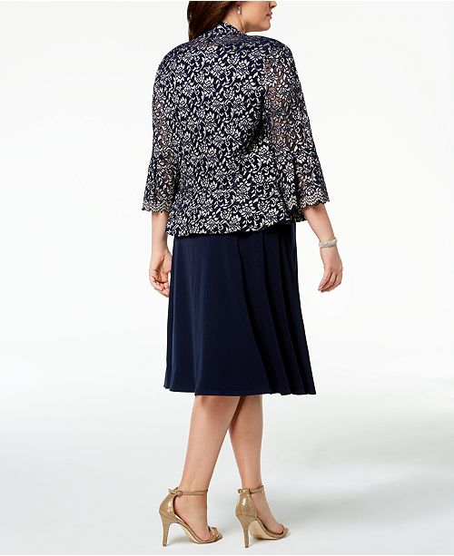 9c5dcc86dc0 Jessica Howard Plus Size Ruched Dress   Lace Jacket   Reviews ...
