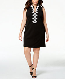 Jessica Howard Plus Size Embroidered-Trim Dress