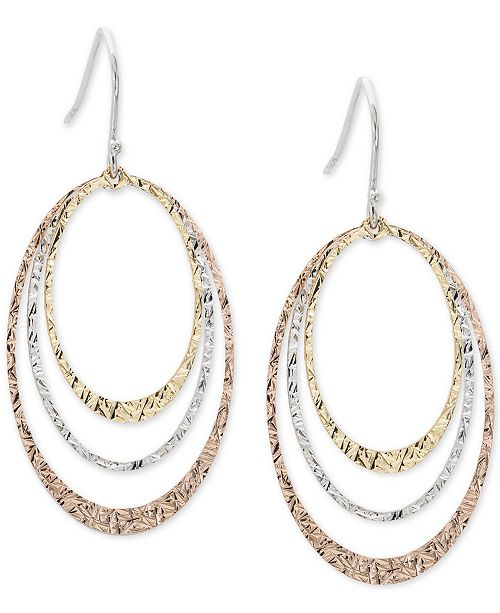 Giani Bernini Tricolor Triple Hoop Drop Earrings in Sterling Silver, 18k Gold-Plate and 18k Rose Gold-Plate, Created for Macy's