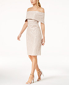 Vince Camuto Lace Off-The-Shoulder Sheath Dress